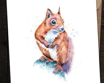 Red Squirrel Card, Squirrel Birthday Card, Squirrel, Red Squirrel, British Wildlife, Watercolour Squirrel Card