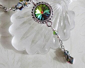 Green Crystal Pendant, Green Swarovski Rivoli Necklace, Green Rivoli Pendant, Crystal Jewelry, Green Crystal Necklace, Wedding Jewelry