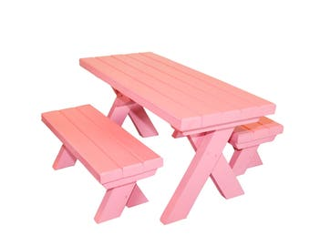 """Pink AG picnic table, AG doll Furniture, 18"""" doll furniture, 18"""" table, 18"""" picnic table, doll picnic table & benches, wood picnic table"""