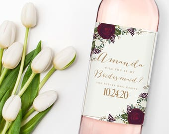 Will You Be My Bridesmaid? Wine Labels, Bridesmaid Wine Bottle Labels, Ask Bridesmaid, Bridesmaid Maid of Honor Gift, Wine Labels #CL178