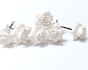 White gardenia hair flower Set of 10, white Gardenia Hair Clip, gardenia Hair pin, white Bridal Hair Flowers, gardenia, Wedding Hair Set of