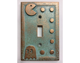 Pac-Man  - Light Switch Cover - Aged Copper/Patina or Stone