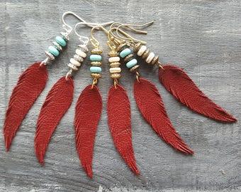Red feather earrings. Leather feather earrings. Gemstone beaded earrings. Long drop earrings. Boho earrings. Bohemian earrings. Boho chic.