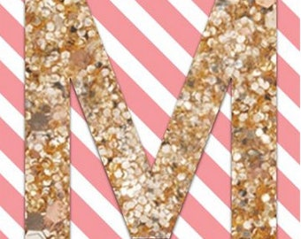 SALE: DIY Banner Kit - Full Alphabet kit to create your custom banner. Use over and over for every occasion! Pink/White Stripe, Gold Glitter