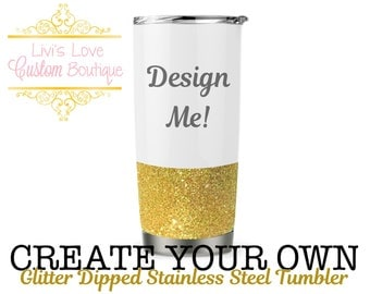 Create your own / Personalized White 20 oz Vacuum Insulated Stainless Steel Travel Coffee to go cup coffee cup mug Rose Gold glitter