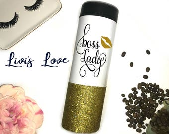 Boss Lady glitter dipped Coffee Tumbler 16 oz double walled to go cup mug Cute Gift for her super cute and unique mason Lady Boss Mom Boss