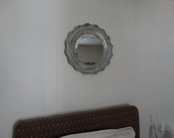 Mirror Round Scalloped Edge Shabby Decor, Cottage