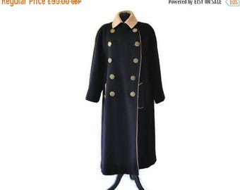 "Summer Sale Black Wool Coat // Double Breasted Vintage Coat// Waist 46"""
