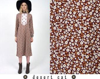 vintage 70s dress vintage 1970s floral caftan/granny dress vintage boho bohemian hippie caftan dress