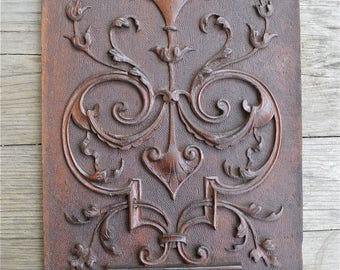 Beautiful antique hand carved Victorian mahogany panel circa.1890 2