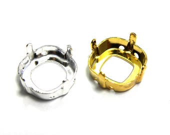 2x Square Sew-on Settings for Swarovski 12 mm Square Fancy Stones (4470) - Gold or Silver plated