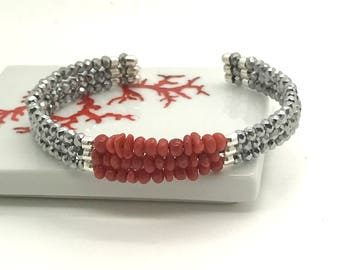 Full-bodied genuine red coral bracelet and Swarovski pearls