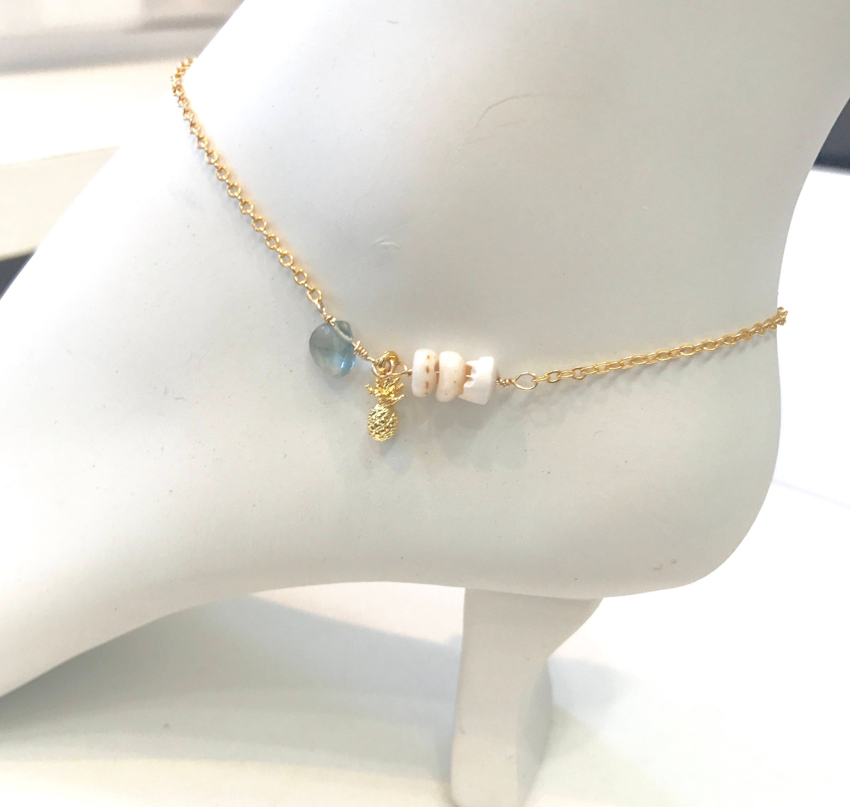 citrine anklet products aqua and aquamarine grey on