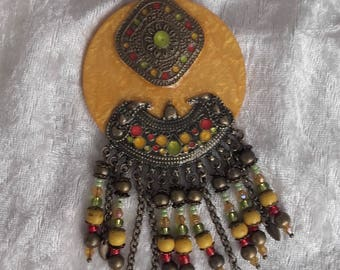 handmade ethnic-inspired yellow bronze multicolor necklace