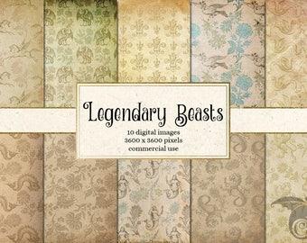 Legendary Beasts Digital Paper, Medieval Digital Paper, Royal Heraldic Crests, Medieval Patterns Scrapbook Paper Printable Backgrounds
