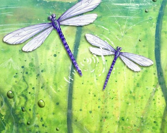 Greeting card - Dragonfly drawing with water - handmade 21cm x 15cm