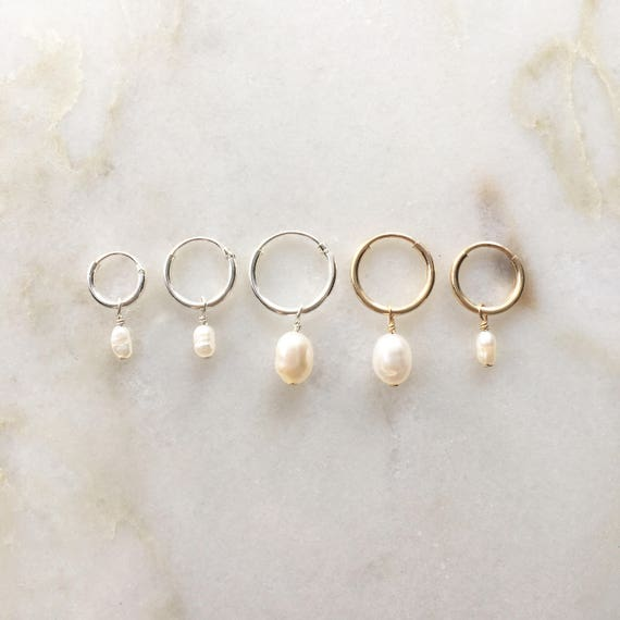 Minimalistic creole earrings with a freshwater pearl | Price per piece or pair | 8/10/12mm sterling silver & 9/12mm 14k gold filled