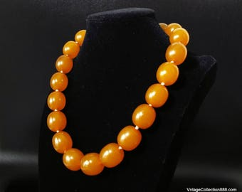 """Amber Necklace, Old natural baltic Amber bead necklace, amber choker of 74g & 18""""."""
