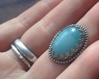 CLEARANCE SALE * Blue Bohemian Amazonite Ring, Size 3.5 - 4 || Sky Blue, Antique Inspired, Vancouver Jewelry, Natural Blue Amazonite Stone