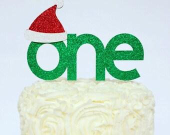 Santa Hat One Cake Topper / Christmas Cake Topper / Christmas First Birthday Cake Topper / Smash Cake Topper