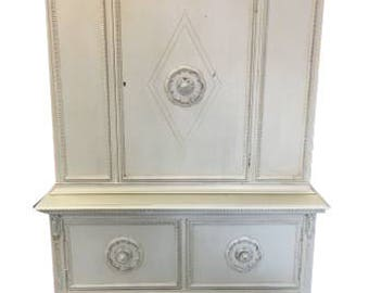 Distressed Gray Shabby Chic Hutch Storage Cabinet Living Room Linen China