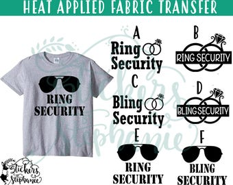 IRON ON v97 Ring Bling Security Aviator Sunglasses Heat Applied T-Shirt Transfer *Color Choice in Notes or BLACK Vinyl
