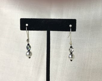 Silver and Iridescent Earrings