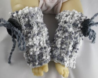 Guetres005 - Gaiters / grey and white baby leg warmers