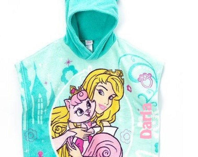 """Disney Palace Pets """"Aurora and Beauty"""" Super Soft Plush Fleece Hooded Poncho Blanket, Personalized"""