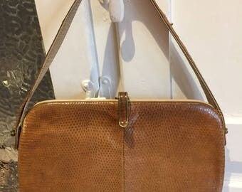 Vintage Fassbender tan lizard skin 40's/50's handbag