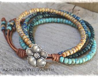 Seed Bead Bracelet/ Seed Bead Leather Bracelet/ Boho Wrap Bracelet/ Boho Chic Bracelet/ Beaded Wrap Bracelet/ Bohemian Bracelet/Leather Wrap