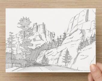 Ink Sketch of Mount Rushmore National Monument in Black Hills South Dakota