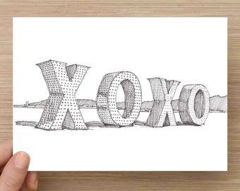 Ink Sketch of XOXO Letters at Burning Man 2017 - Drawing, Art, Pen and Ink, Shadow, Black Rock City, Nevada, 5x7, 8x10, Print