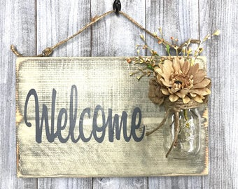 Rustic Mason Jar Welcome Sign - Distressed Welcome Sign - Housewarming Gift - Front Door Welcome Sign - Porch Sign -  Home Decor