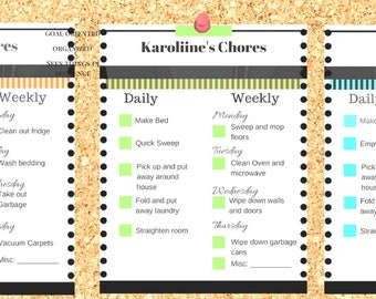 Weekly chore chart | Etsy
