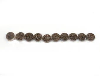 10 PCS  Sparkling Brown  Druzy Drusy Round loose stones -   Finest Quality Sparkling Brown Drusy 10mm LGS488