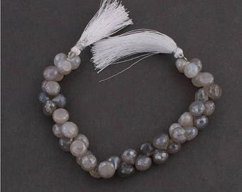 Fathers Day Sale 1 Strand Shaded Gray Moonstone Faceted Briolettes - Grey Moonstone Onion Beads 9mmx9mm 8 Inches SB2599