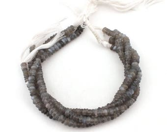 Fathers Day Sale 4 Long Strands Grey Moonstone Faceted Rondelles - Gray Moonstone Roundelle Beads 5mm-7mm 10.5 Inches SB2101