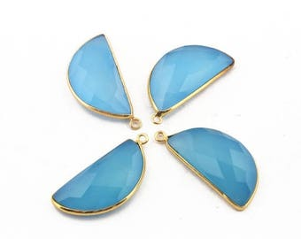 Valentine Day 4 Pcs Blue Aqua Chalcedony Faceted 24k Gold Plated D Shape Single Bail Pendant 33mmx16mm BC929