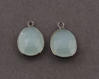 VALENTINE DAY SALE 2 Pcs Aqua Chalcedony Oxidized Silver Faceted Oval Shape Single Bail Pendant - 18mmx12mm Ss1417