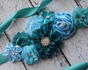 Maternity Sash, Teal blue Sash, flower girl sash, flower Belt, maternity sash belt, teal sash, flower girl sash
