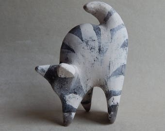 "Ceramic sculpture ""Striped cat"", statuette, art pottery, figurines made of clay, figurines of cats, gift, ceramic gray cat, animals"