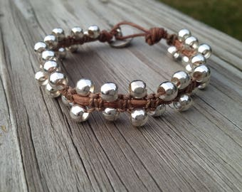 Silver Plated Beads with Macrame on Brown Leather
