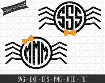 Spider Monogram Frame, Cute Spider SVG, Halloween SVG, Halloween Cut File, Halloween Clip Art, Commercial SVG, Commercial Clip Art, Cut File