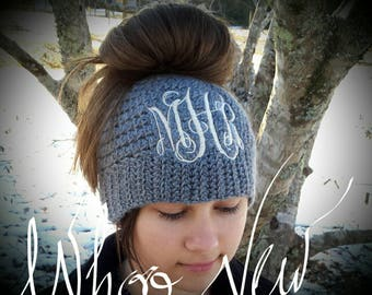 Monogrammed messy bun beanie-mom bun hat-mom bun-messy mom bun-ponytail- ponytail hat-messy bun hat-beanie with bow-beanie hat, Sale