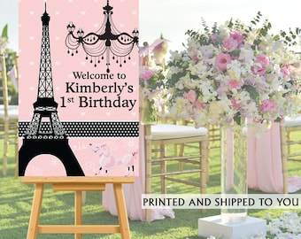 Paris Party Welcome Sign - Welcome to the Party Sign - Effiel Tower Party Welcome Sign, Foam Board Welcome Sign, Printed Welcome Sign