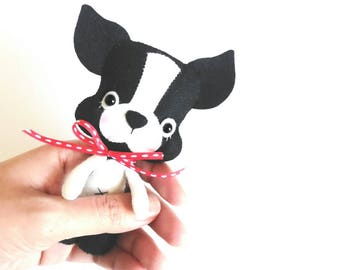 Little Puppy-PDF pattern-Baby Dog-DIY Project-Boston Terrier-Nursery decor-Instant Download-Baby's mobile toy-Felt puppy-year of the dog