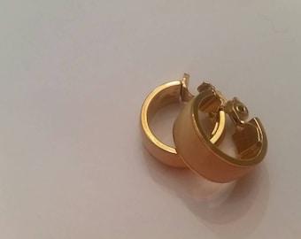 Vintage Cream Enamel Gold Hoop Earrings Costume Jewelry