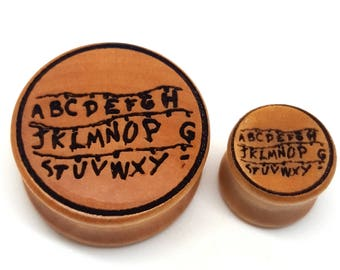 Pair of Engraved Stranger Things - Spirit Lights Alphabet Plugs [Cherrywood / Wood Stretchers 12mm - 60mm] Price Per Pair