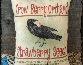 Primitive Crow Strawberry Seeds Feedsack Type Pillow or Panel